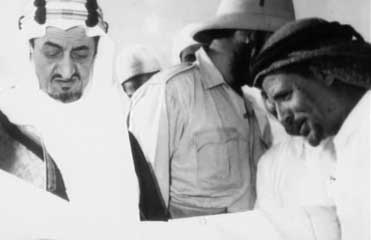 Osama bin Laden&#8217;s father, Mohammed bin Laden, with Faisal al-Saud, the Saudi king in the middle of the 20th century.