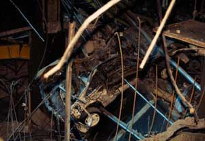 Bomb damage in underground levels of the WTC in 1993.