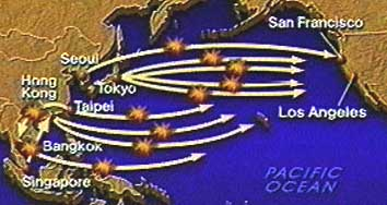 A 1998 CNN map of likely flights to be hijacked in one version of Operation Bojinka.
