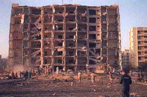 Destruction at the Khobar Towers, Dhahran, Saudi Arabia.