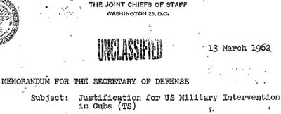 The first lines of the declassified Northwoods document.