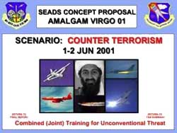 Osama bin Laden is pictured on the cover of the Amalgam Virgo exercise.