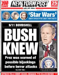 The New York Post has a banner headline on May 16, 2002.