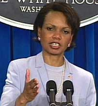 National Security Adviser Rice tries to explain what Bush knew and when in her May 16, 2002 press conference.
