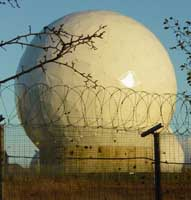 One of the approximately 30 radomes at the Echelon station in Menwith Hill, England. A radome covers an antenna to protect it from the weather and disguise the direction it is pointing.