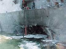 Damage to the USS Cole.