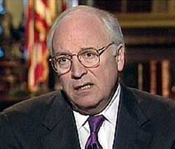 Vice President Dick Cheney on television, May 8, 2001.