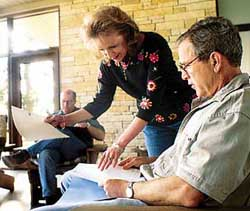 Bush being briefed at his ranch on August 6, 2001.