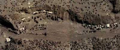 A satellite image of the Zhawar Kili training camp in Afghanistan, taken shortly before it was hit by a US missile strike in August, 1998.