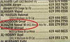 Nawaf Alhazmi in the 2000-2001 San Diego phone book.