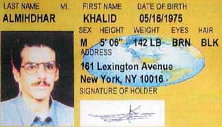 A portion of Khalid Almihdhar&#8217;s New York identification card. The address is a Ramada Inn hotel, which was owned by Marriott at the time.