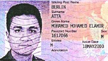A portion of Mohamed Atta&#8217;s US visa obtained in May 2000.