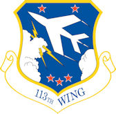 Logo of the 113th Wing of the DC Air National Guard.