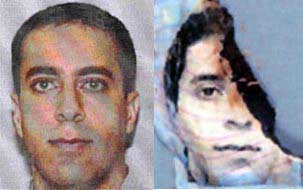 Two images of Ziad Jarrah. The photo on the right is from the wreckage of Flight 93.