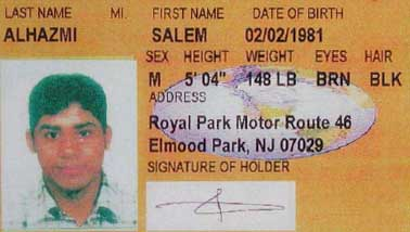 A portion of Salem Alhazmi's New Jersey identification card.