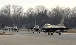 F-16 Fighting Falcons from the 127th Wing at Selfridge Air National Guard Base.