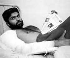 Saeed in an Indian hospital shortly after being arrested
