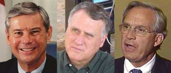 From left to right: Senator Bob Graham (D), Senator Jon Kyl (R), and Representative Porter Goss (R).
