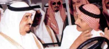 King Fahd (left) with Bakh bin Laden (right), a brother of Osama bin Laden, in the mid-1990s.