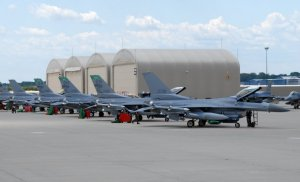 F-16 Fighting Falcon aircraft at the 180th Fighter Wing.