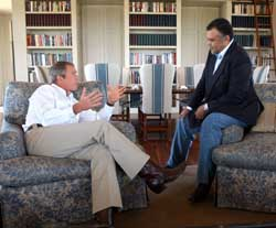 Prince Bandar and President Bush meet at Bush&#8217;s ranch in August, 2002.