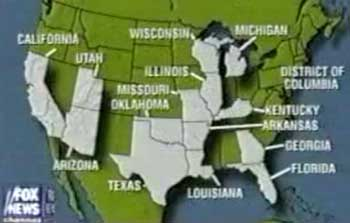 States the Israeli spy ring were known to have operated in, according to a June 2001 Drug Enforcement Administration report (this Fox news graphic was based on information from that report).
