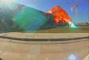 A frame from the video showing the attack on the Pentagon.