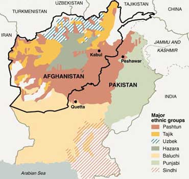 Pashtun ethnic areas, shown in red, cover much of the heavily populated areas in Pakistan and Afghanistan.