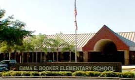 The destination of Bush&#8217;s motorcade is Booker Elementary School.