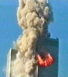 Flight 11 hits the WTC North Tower at 8:46. This video still is the only well-known image of this crash (from the French documentary).