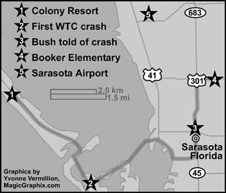 Bush's travels in the Sarasota, Florida, region, with key locations marked.