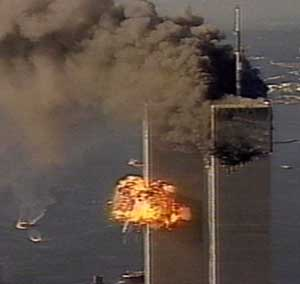 Flight 175 hits the WTC South Tower. The picture was taken from a traffic helicopter.