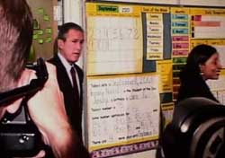 President Bush enters Sandra Kay Daniels&#8217; classroom.