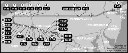 Key events of Flight 93 (times are based on a Pittsburgh Post-Gazette map and otherwise interopolated).