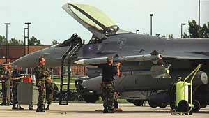 Amraam missiles being loaded onto a 119th Fighter Wing jet at an unknown time on the day of 9/11. The 119th is based at Langley Air Force Base, Virgnina.