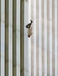 Someone falling from the WTC. Well over 50 jumped or fell from the North Tower, none from the South Tower.