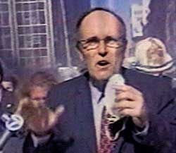Mayor Rudolph Giuliani will become well known for his walking press conferences in the middle of the 9/11 crisis.