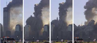 The North Tower collapses in a matter of seconds.
