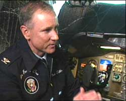 Pilot Mark Tillman in the cockpit of Air Force One.