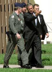 President Bush at Barksdale Air Force Base, accompanied by Lieutenant General Thomas Keck.
