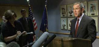 President Bush records a speech at Barksdale Air Force Base.