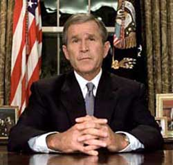Bush addresses the nation from the White House.
