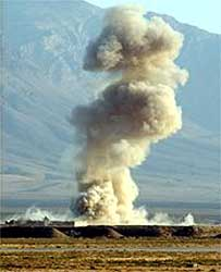 The Afghan village of Darya Khanah is bombed on October 27, 2001.