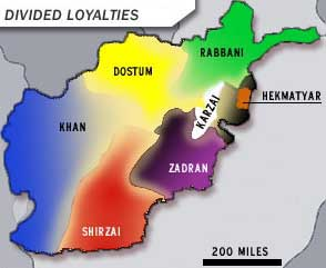 Map of Afghanistan, showing areas of control by various warlords and factions.