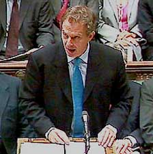 Tony Blair presenting evidence on October 4, 2001.