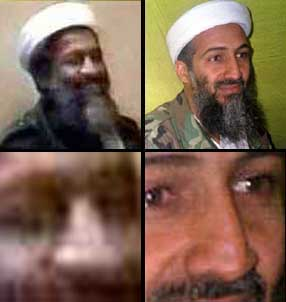 The man in the picture on the left is supposed to be bin Laden in October 2001. The picture on the right is undisputendly bin Laden in December