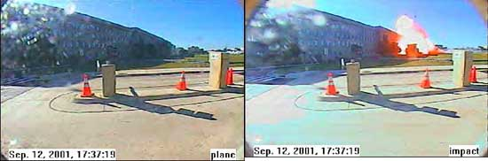 "The Pentagon ""video.""  These are the first two of five stills of the Pentagon impact. The first one is labeled ""plane,"" which appears to be the black object above the post on the far right. The second one is labeled ""Âœimpact."" The three other stills depict a growing fireball."