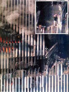 This picture of the hole created in the WTC by Flight 11 supports recordings indicating that fires weren't burning out of control. In the close-up insert at the top left, note the person standing at the edge of the hole.