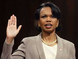 Condoleezza Rice sworn in before the 9/11 Commission.