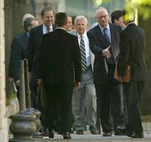 There were no pictures allowed of the Bush and Cheney joint testimony before the 9/11 Commission. Here are commissioners Thomas Kean, Fred Fielding, and Lee Hamilton preparing to begin the testimony.